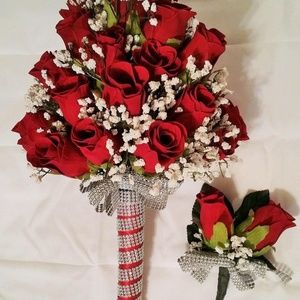 4 piece Red Rose wedding bouquet and boutonnieres